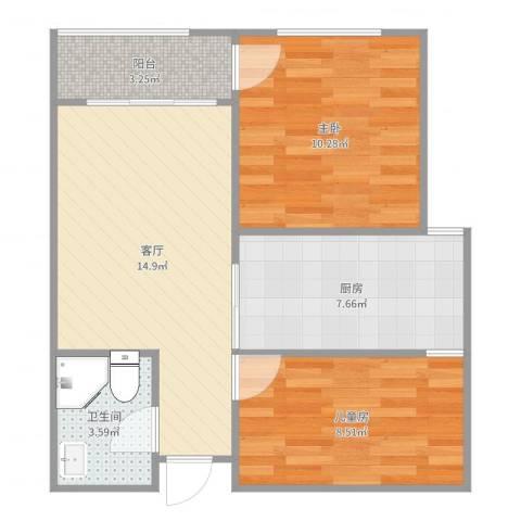 永安公寓2室1厅1卫1厨60.00㎡户型图