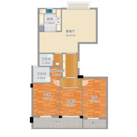 瑞都中央花园3室2厅2卫1厨137.00㎡户型图