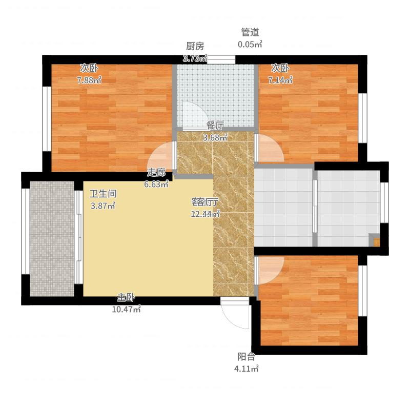 大连港天下粮仓户型3室1厅1卫1厨-副本户型图