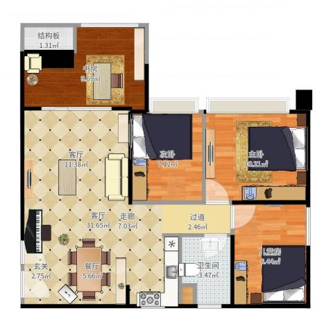 DADA的草地4室1厅2卫1厨89.00㎡户型图