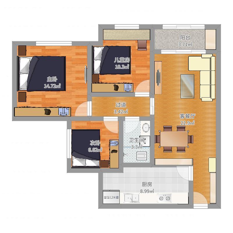 克拉大都会2号楼--3户型户型图