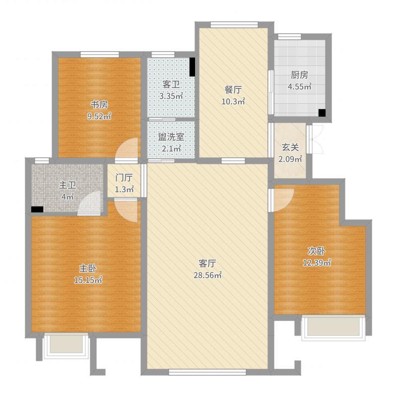 天津_华远波士顿18号楼01户型原貌-副本户型图