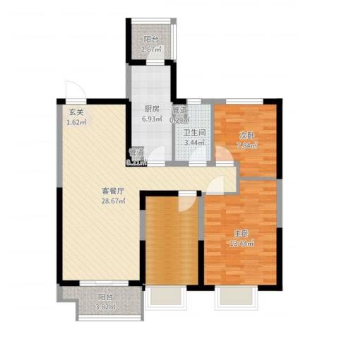 沈阳恒大御景湾2室2厅1卫1厨95.00㎡户型图