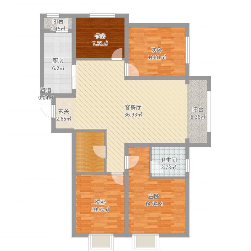 保利梧桐语143.00㎡D-1户型4室4厅2卫1厨户型图