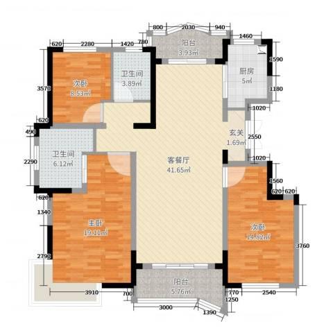 金汇国际3室2厅2卫1厨136.00㎡户型图