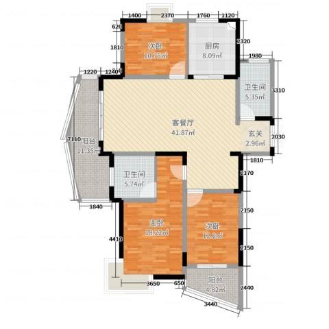 金汇国际3室2厅2卫1厨148.00㎡户型图