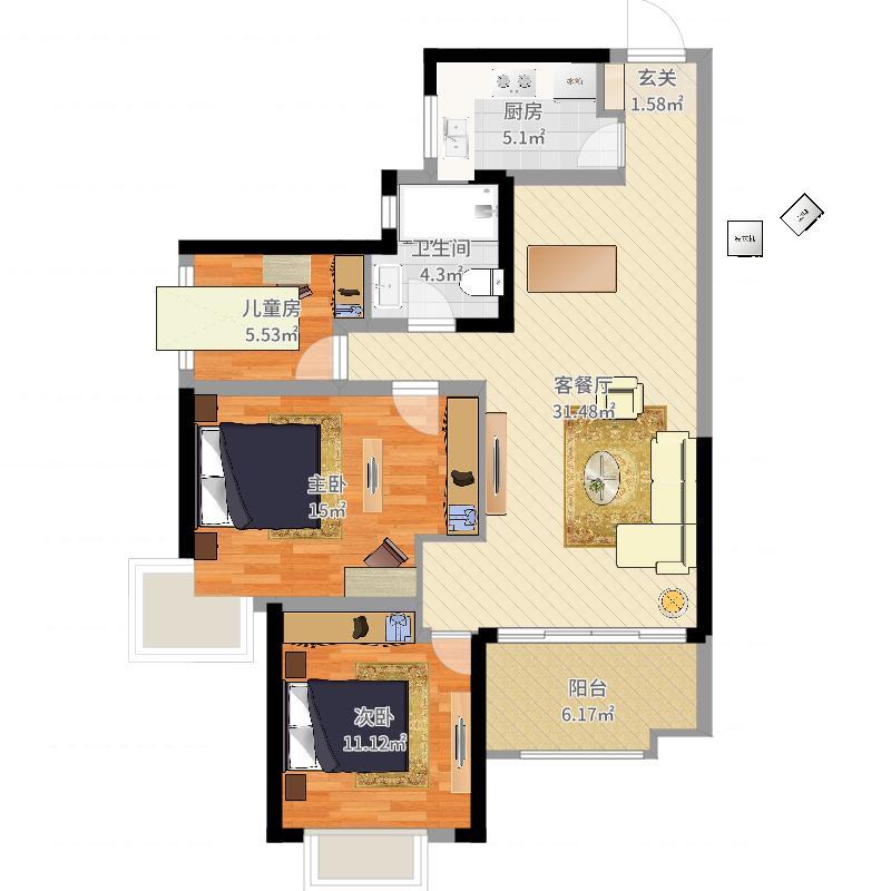 雅居乐星河湾98.00㎡二期17#18#楼标准层A户型3室3厅1卫1厨户型图