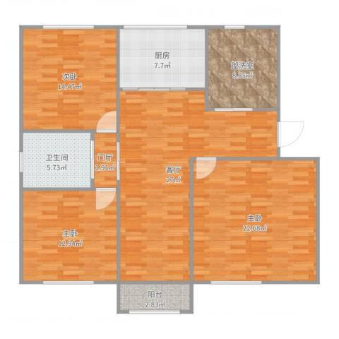 马涧花园3室3厅1卫1厨130.00㎡户型图