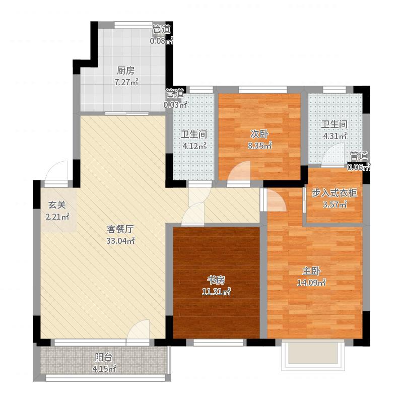 新加坡花园116.00㎡Y1-b户型3室3厅2卫1厨-副本户型图