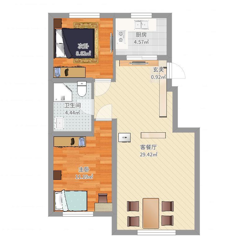 其仕盛和祥83.00㎡E1户型2室2厅1卫1厨-副本户型图