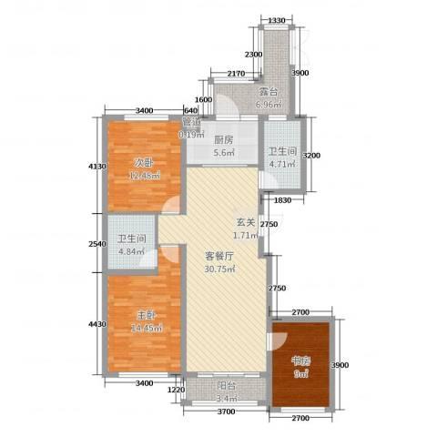 诚安友谊天地3室2厅2卫1厨136.00㎡户型图