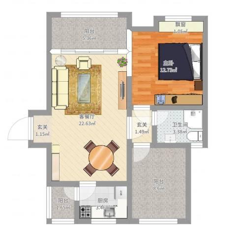 保亭上观园1室2厅1卫1厨74.00㎡户型图