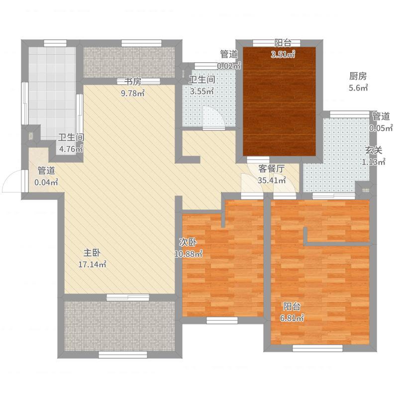 新光小区100.00㎡新光小区户型图3室户型图3室1厅1卫1厨户型3室1厅1卫1厨-副本户型图