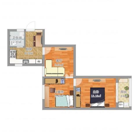 市光一村114号906室2室1厅1卫1厨59.00㎡户型图