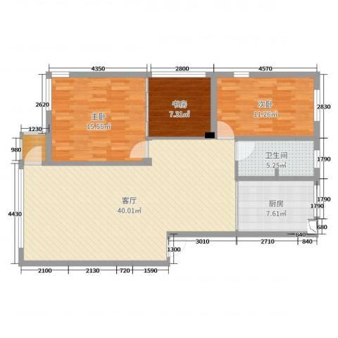 佳和园3室1厅1卫1厨110.00㎡户型图