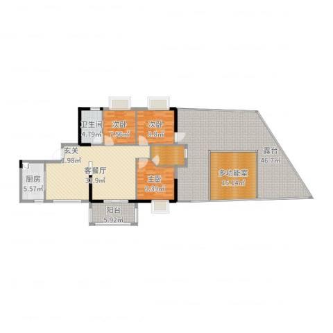 雅逸尚都3室2厅1卫1厨175.00㎡户型图