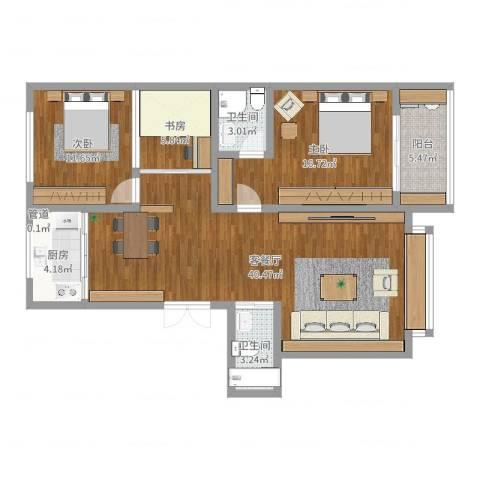 青青小城3室2厅2卫1厨113.00㎡户型图