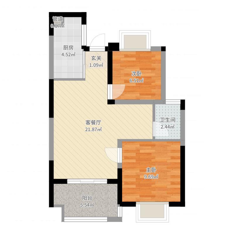 长泰国际社区74.00㎡B地块高层户型2室2厅1卫1厨-副本户型图