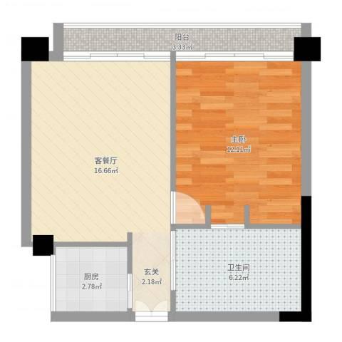 四海城1室2厅1卫1厨51.00㎡户型图