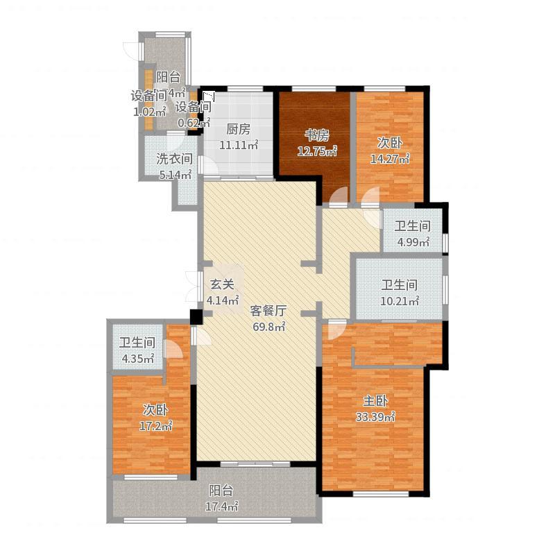 金新鼎邦260.00㎡26#标准层户型4室4厅3卫1厨户型图