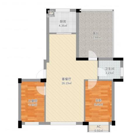 亿成花园2室2厅1卫1厨79.00㎡户型图