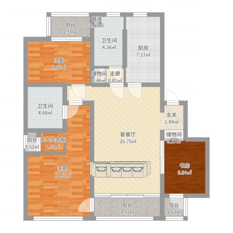 裕沁湖畔庭125.00㎡小高层AR户型3室1厅2卫1厨-副本户型图