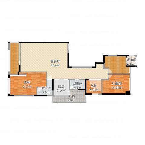 御翠园3室2厅2卫1厨189.00㎡户型图
