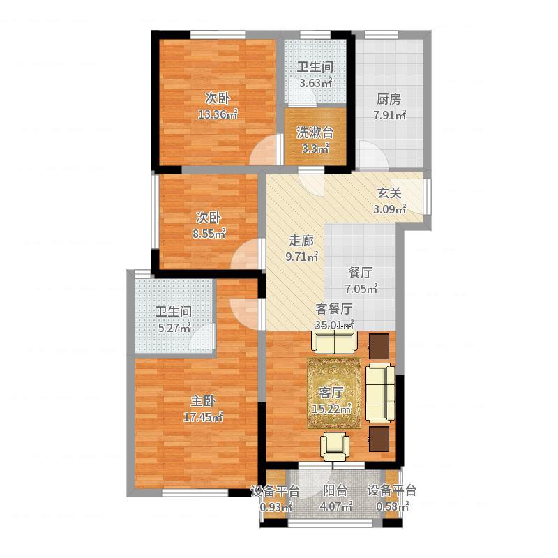 奥林清华御园户型3室1厅2卫1厨-副本-副本户型图