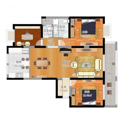 兰花村3室2厅2卫1厨135.00㎡户型图