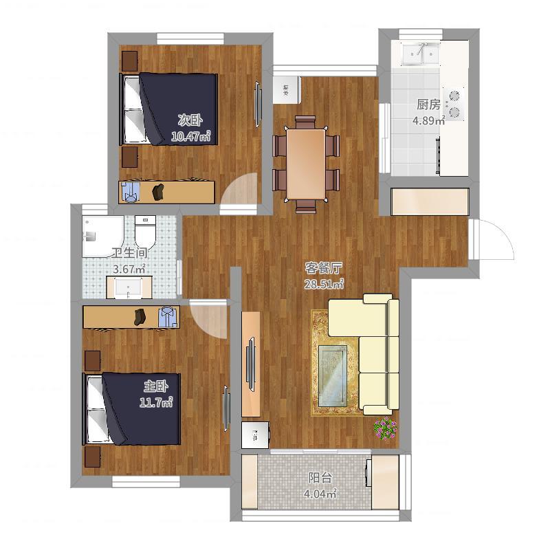 古城新苑6号楼1202-副本户型图