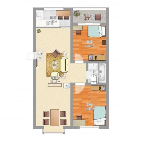 东上金地2室2厅1卫1厨78.00㎡户型图