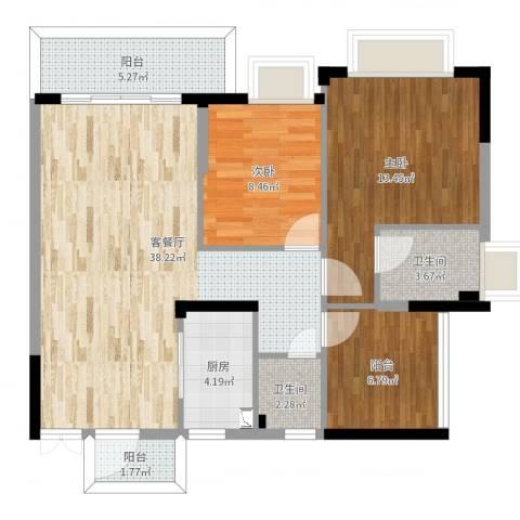 东逸湾花园1室2厅2卫1厨95.00㎡户型图