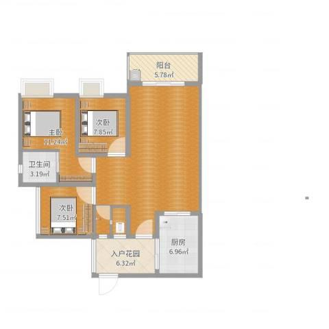 金华世家3室0厅2卫1厨106.00㎡户型图