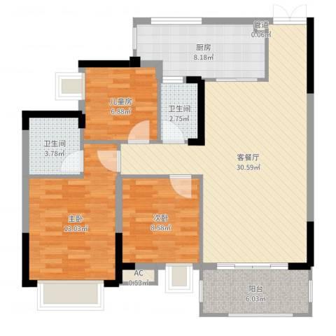 奥体中央公园3室2厅4卫1厨101.00㎡户型图