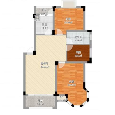 东方海德堡3室2厅1卫1厨100.00㎡户型图