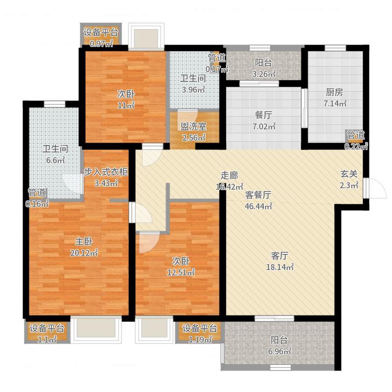 太湖国际社区136.00㎡凯旋门G户型3室2厅-副本户型图