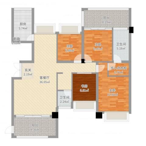 义乌荷塘月色4室2厅2卫1厨131.00㎡户型图