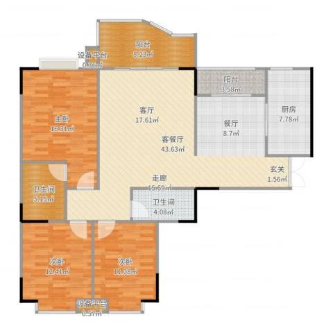 云湖花园3室2厅2卫1厨141.00㎡户型图