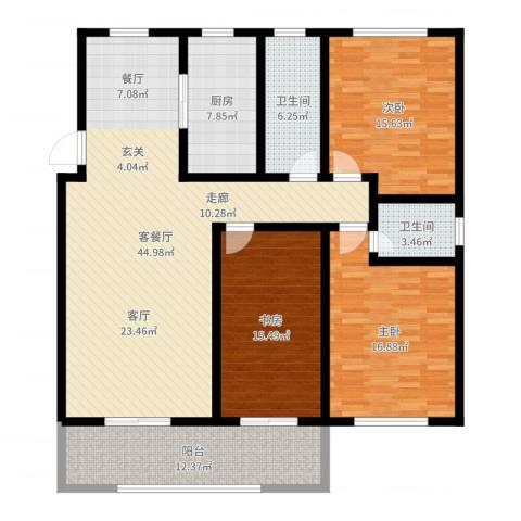 蓝钻庄园3室2厅2卫1厨154.00㎡户型图