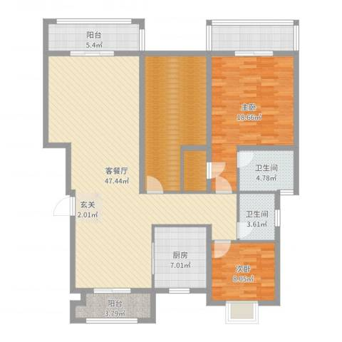 保集澜湾2室2厅2卫1厨151.00㎡户型图