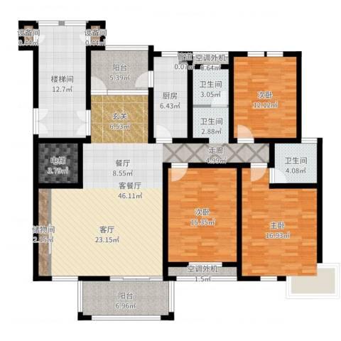 巴国公馆3室2厅2卫1厨173.00㎡户型图