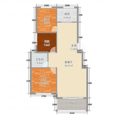 中原国际3室2厅1卫1厨106.00㎡户型图