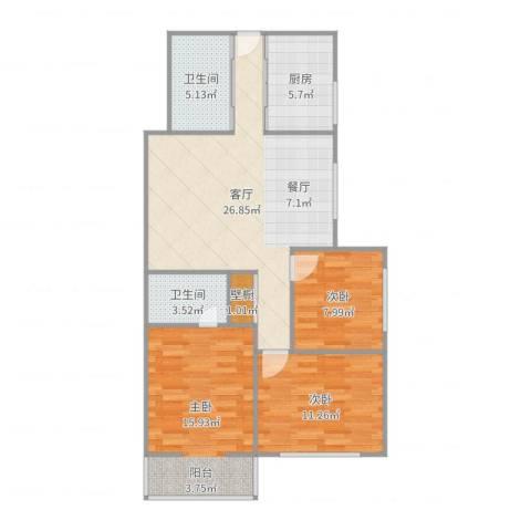 月光广场3室1厅2卫1厨97.00㎡户型图
