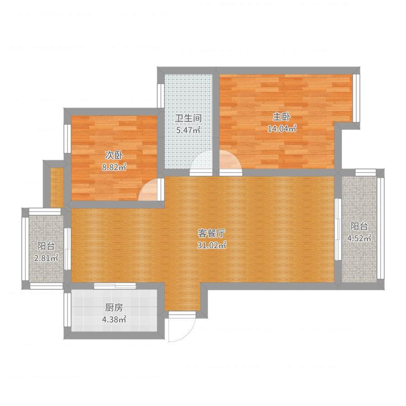 顾坝两房两厅一卫户型图