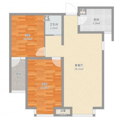 中环广场2室2厅1卫1厨81.00㎡户型图
