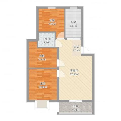 汇景豪庭3室2厅1卫1厨76.00㎡户型图