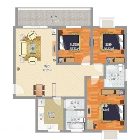 聚龙华府3室1厅2卫1厨129.00㎡户型图