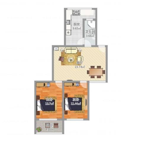 共康路400弄小区2室1厅1卫1厨82.00㎡户型图