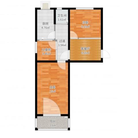 模式口南里3室2厅1卫1厨59.00㎡户型图