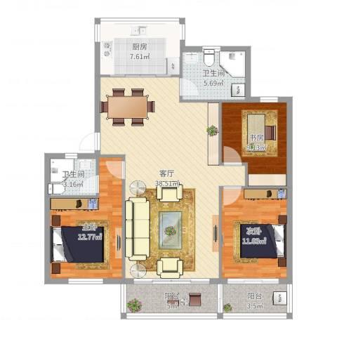 百丈花园3室1厅2卫1厨121.00㎡户型图